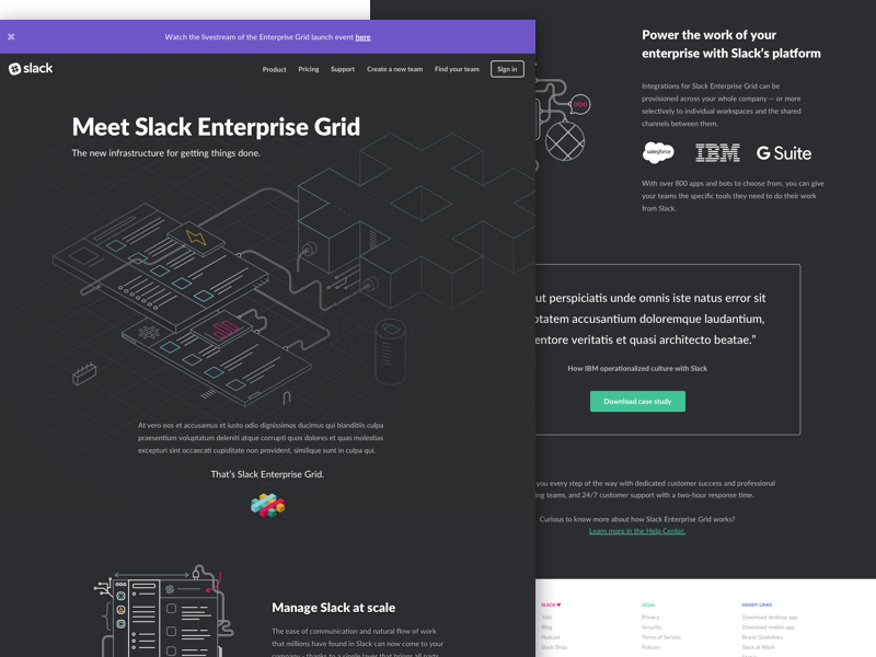 Slack Enterprise Grid - Landing page branding features product responsive dark ui web landing page