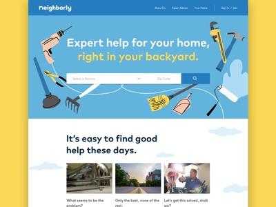 Neighborly Site Design responsive about reviews landing page service web app style guide ux ui