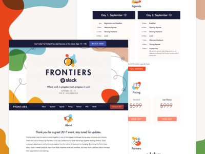 Slack Frontiers Event Page agenda branding ui website landing page event