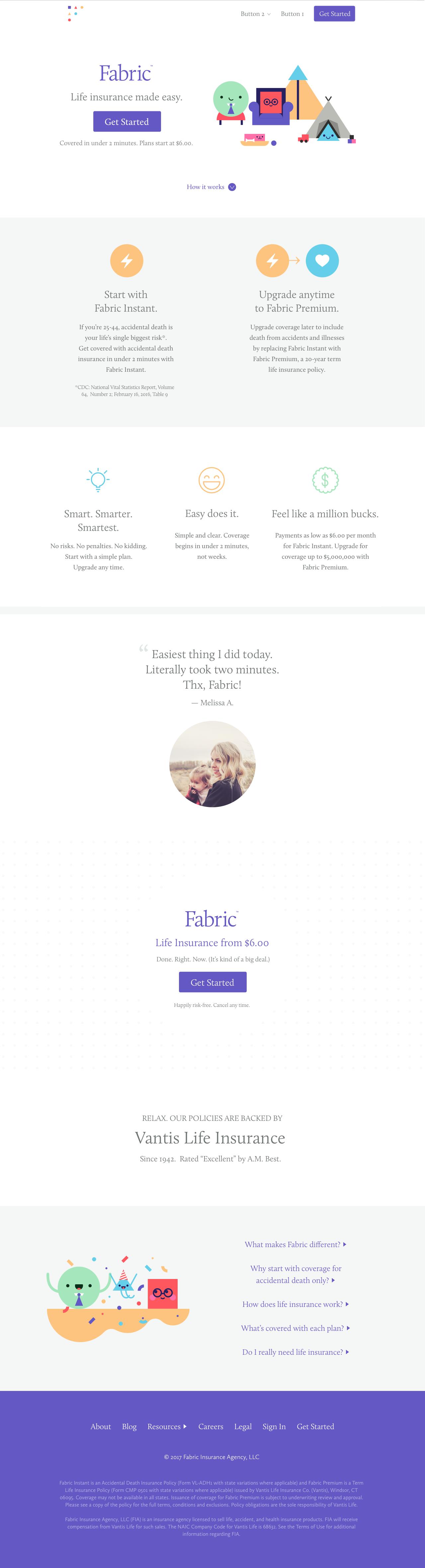 Fabric homepage original