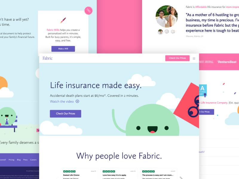 Fabric Homepage life insurance marketing colorful brand homepage web ui