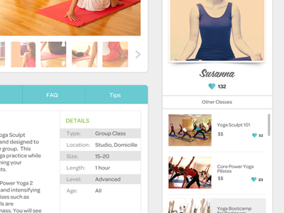 Fitness class page detail coachoasis class profile listing tabs web carousel