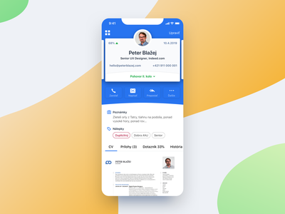 Candidate Profile candidate design application profile card cards summary detail screen detail ux ui user profile