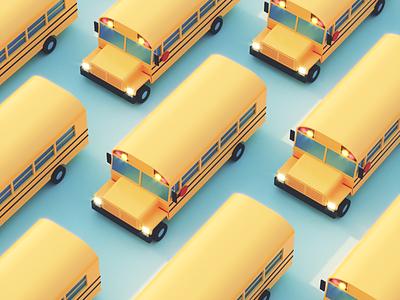 Isometric School Bus model school bus isometric bus 3d render c4d illustration