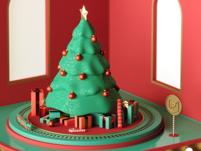 2019 PRPL Holiday wireframe materials 3d illustration christmas holiday