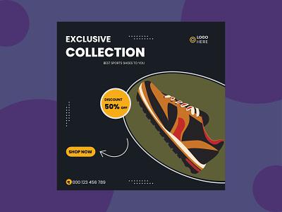 Exclusive shoes Social media post design exclusive best social media post typography vector illustration design graphic design