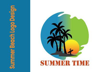 Summer Beach Logo Design best design logo design creative logo sea beach logo beach logo summer logo exclusive illustration logo graphic design design best