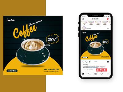 Coffee Shop Social  Media  Banner Design square banner design social media post graphic design banner design coffee house coffee shop