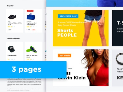Fashion clothing e-commerce (3 pages)