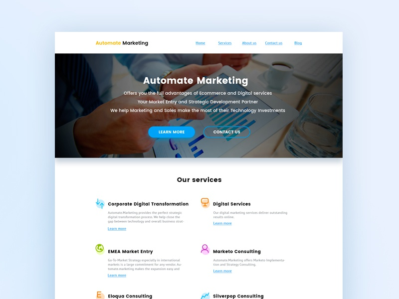 The first version Automate marketing service consulting didgital mscrm emea sale marketing web design typography redesign design ux ui