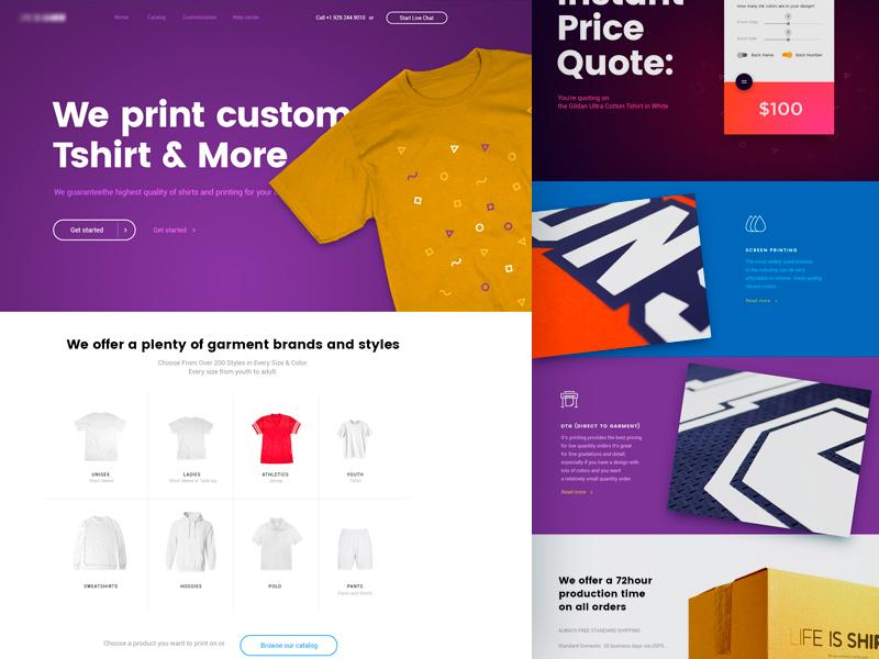 Custom T-shirt e-commerce (home page) t-shirt fashion e-commerce dress clothing web design design typography ux ui