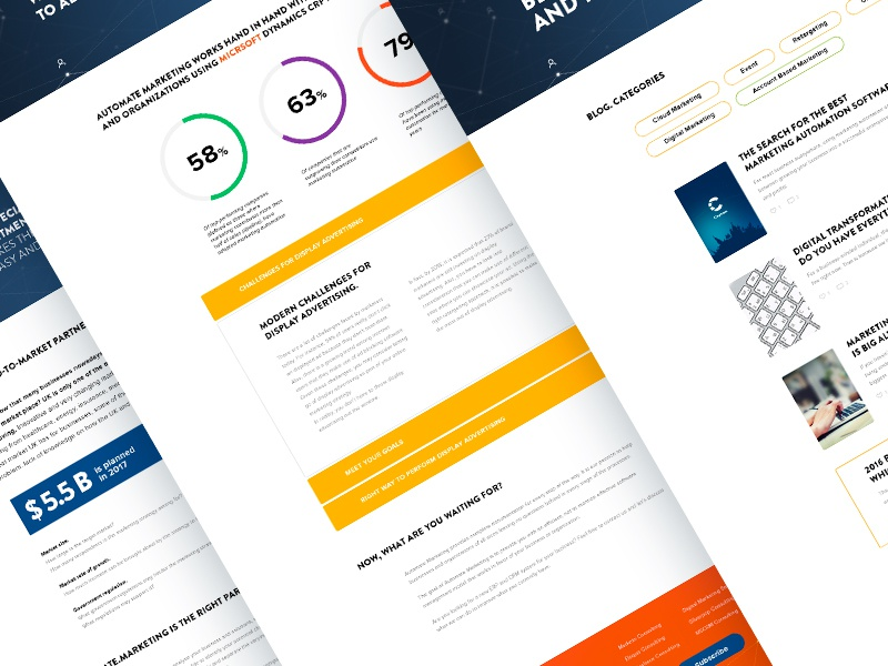 Automate marketing services. Some other pages ui ux design redesign typography web design marketing site information about blog
