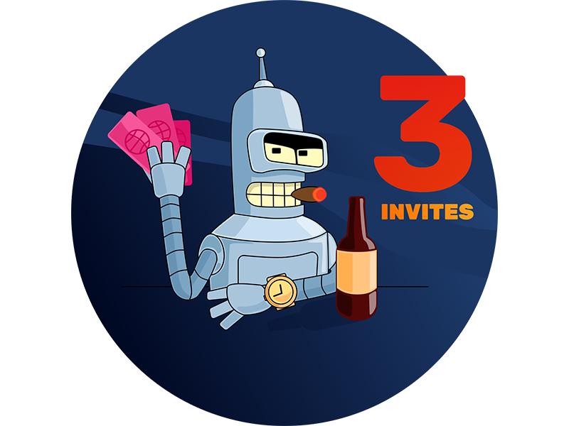 I have 3 Invites flat sketch app illustrator vector illustration invites invite giveaway free dribbble
