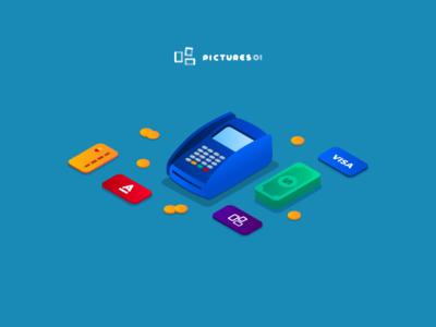 Illustrations: terminal, plastic card, cash, isometry, isometric