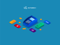 Illustrations: terminal, plastic card, cash, isometry, isometric