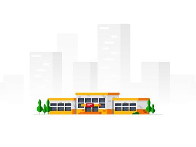 Moscow School Illustration designideas town city building house flat illustrator school logo illustration vector web design