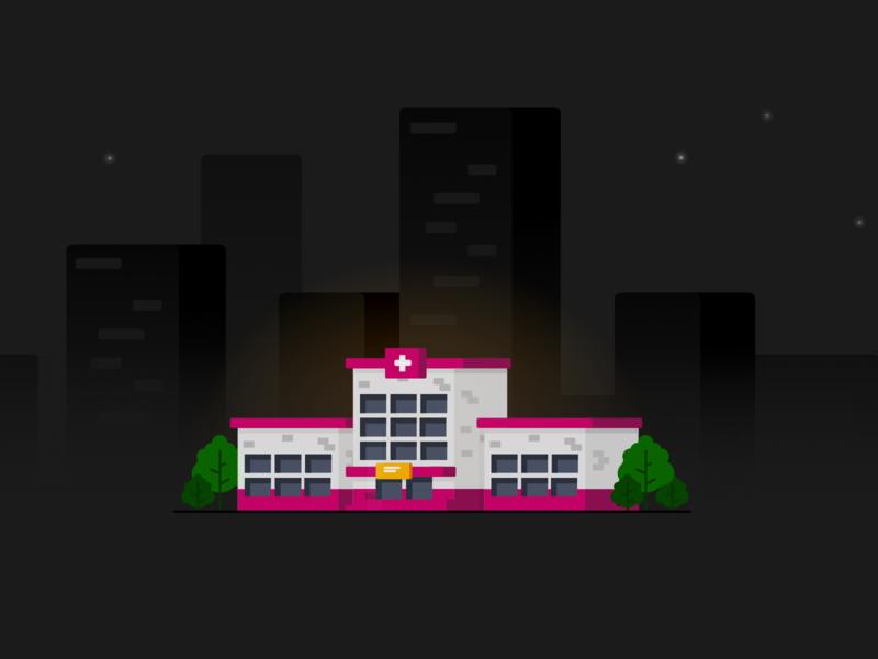 Hospital bricks pink branding web sky star city hospital night building tree vector illustration