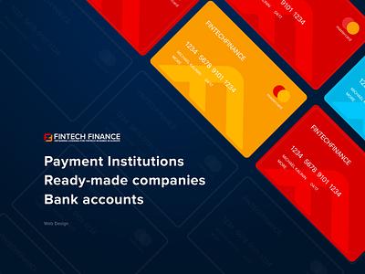 Fintech Finance (plastic card, slider) busines branding vector illustration typography web promo slider plastic card bank