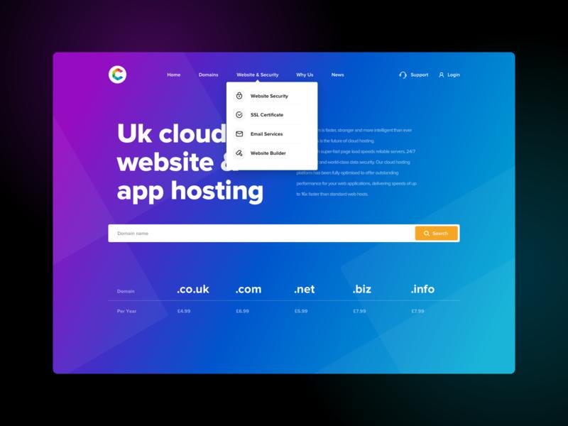 Crazy Host clean ui ux menu bar menu main page main menu slider skech web program icons gradient color gradient host hosting