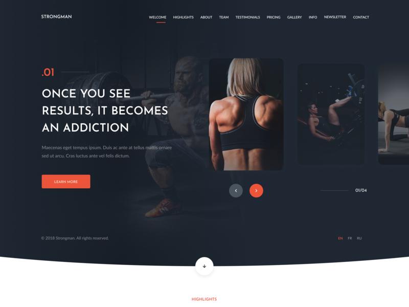 Gym & Fitness Template dark homepage slider landing page training fitness gym