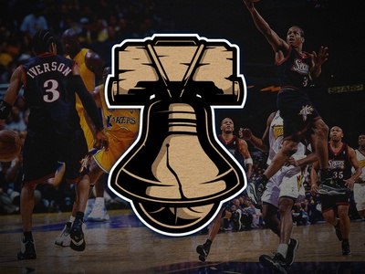 Throwback Sixers Secondary Logo illustration liberty bell sports history playoffs basketball nba 76ers philadelphia logo daily