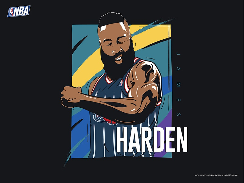 James Harden sports draft illustration adidas nike 90s houston rockets james harden vintage basketball nba