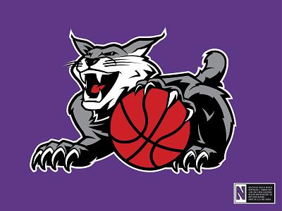NorthWestern Wildcat bobcat wildcat mascot illustration 90s college basketball northwestern