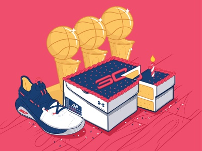 Curry 6 Splash Party sneakers illustration under armour celebration birthday cake steph curry basketball nba