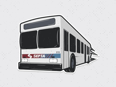 Septa Bus city fast vintage illustration car liberty bell bus septa philadelphia philly