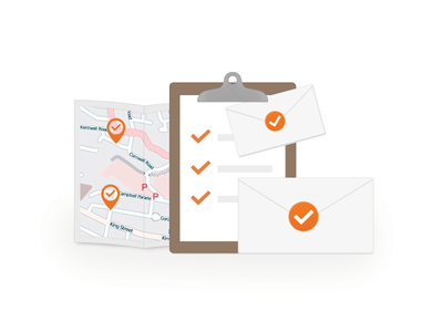 Doubt Free Delivery tick clipboard map pins orange