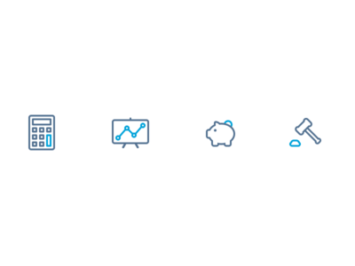Icon Set WIP scale tax light bulb chat comment hammer piggy bank calculator business line icons blue