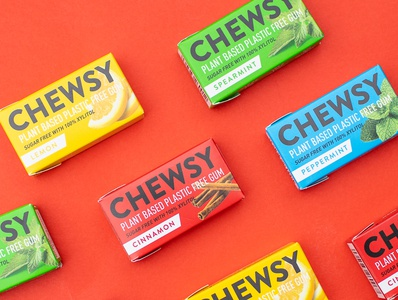 Chewsy Packaging packaging plastic free organic natural logo chewing gum gum