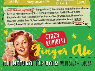 Ginger Ale Lip Balm branding packaging doodles natural organic diy hand done collage ginger ale ginger lip balm soda