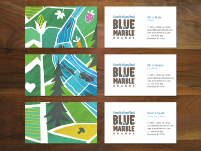 Blue Marble Illustration waterfall vegetable fruit business card healthy food illustration