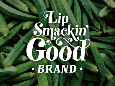 Lip Smacking Good southern food logo branding okra southern