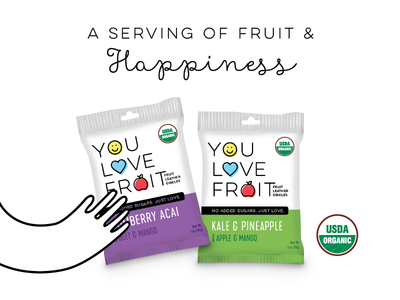 You Love Fruit happiness branding kale acai natural organic logo illustration snack candy packaging fruit ad