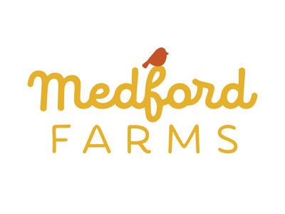 Medford Farms Logo organic natural healthy food snack farm bird