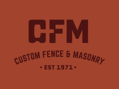Custom Fence & Masonry negative space logo stone construction masonry