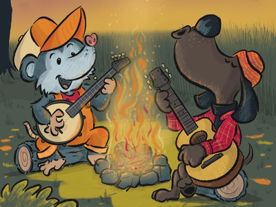 Possum and Dog campfire sing along autumn fall animals dogs illustration kids childrens book