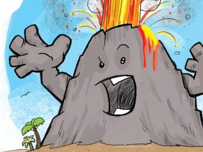 Annoyed Volcano highlights editorial volcanoes humorous fun childrens book illustration
