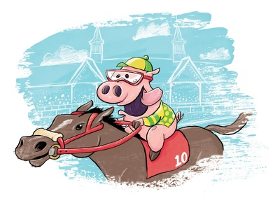 Derby Pig magazine editorial pigs humorous fun childrens book illustration