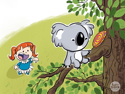Hey! That's MY Mega Lollie! pets koalas little girls humorous fun childrens book illustration