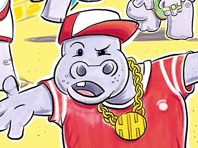 Hiphopapotamus Posse magazine editorial hippos humorous fun childrens book illustration