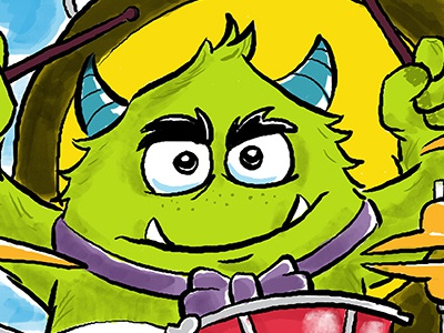 Drumming Monster music magazine editorial drums humorous fun childrens book illustration