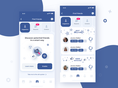Facebook matching system app mobile ui ux data match profile facebook