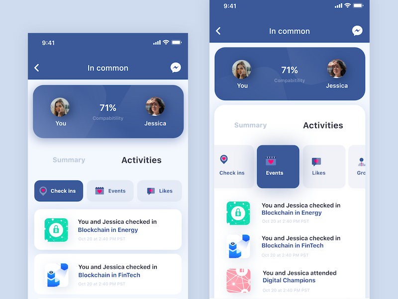 Facebook matching profile system ux ui profile mobile facebook data app ai