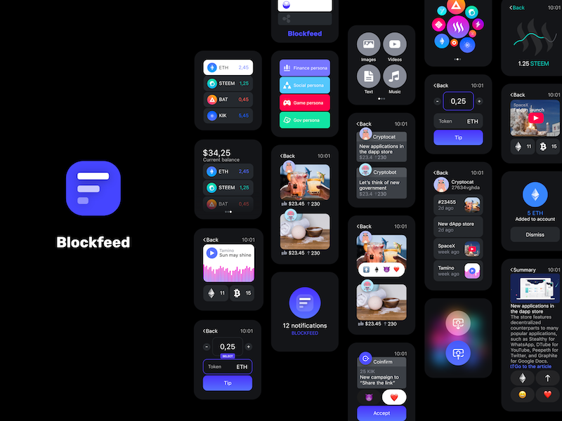 Blockfeed - decentralized engagement and social network ux ui social network engagement decentralized crypto blockchain watch apple