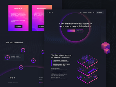 Dusk.network page home token landing page decentralization security network data website ux ui crypto blockchain
