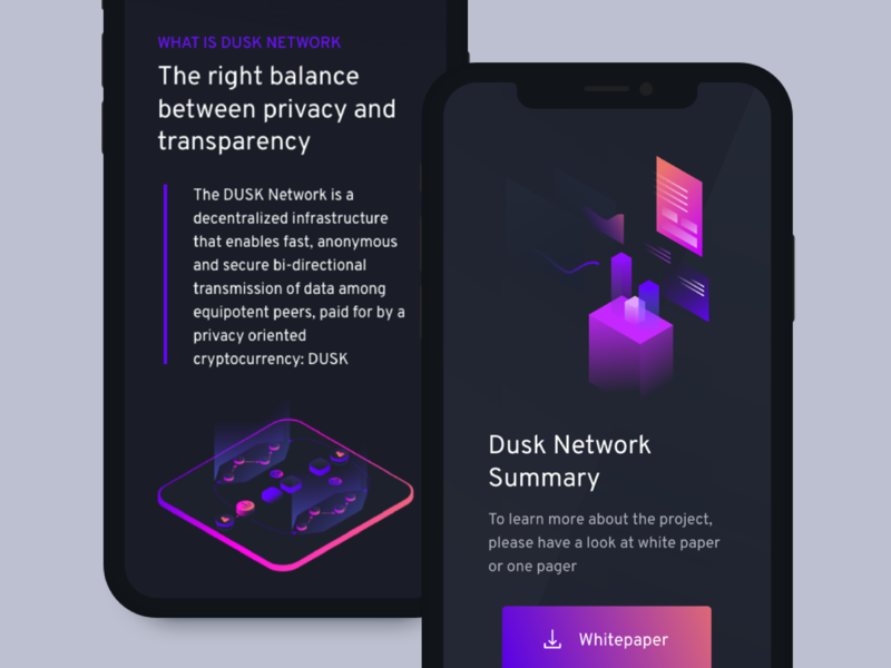 Dusk Network mobile whitepaper network data ux ui decentralized crypto web design mobile blockchain