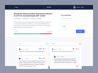Kora Discussion Tool for Web3 blockchain government crypto web design ux ui decentralized voting